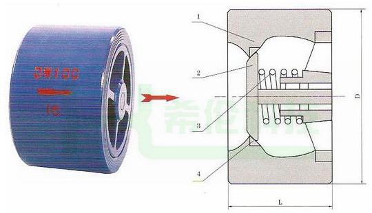 对夹式静音止回阀结构图
