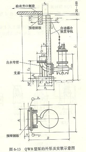 潜水排污泵的安装结构示意图