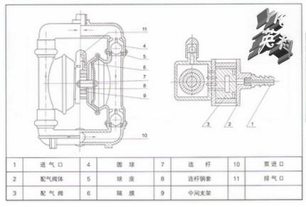 qby第一代气动隔膜泵结构图图片