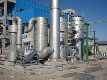 急冷除酸塔+布袋除尘器+喷淋洗涤塔+除雾器+引风机