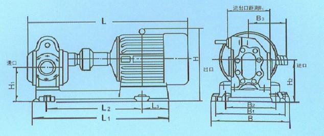 2cy齿轮油泵的安装尺寸图