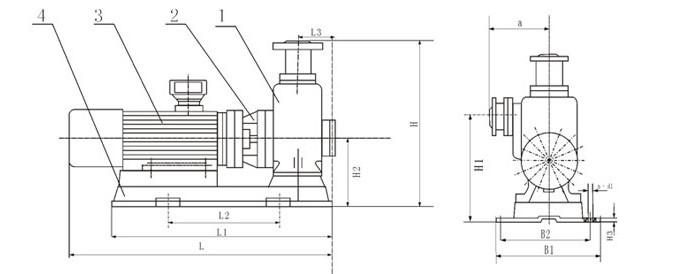 大流量自吸泵安装尺寸图