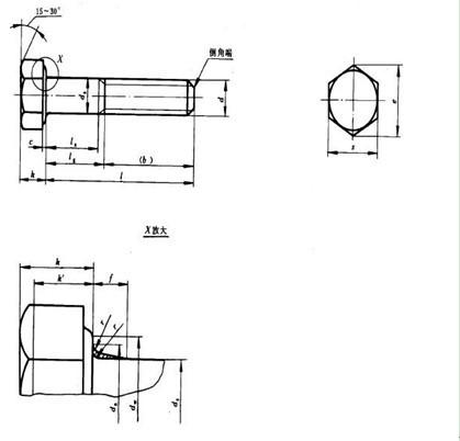 外六角螺栓尺寸规格(如图)