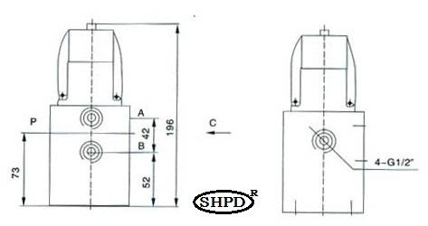 二位二通换向阀的结构简图